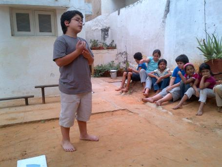 Reciting a self written poem called 'The Serpent'